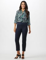 Roz & Ali Solid Superstretch Tummy Panel Pull On Ankle Pants With Rivet Trim Bottom          - Petite - 11
