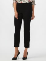 Solid Superstretch Tummy Panel Pull On Ankle Pants With Rivet Trim Bottom          - Petite - 3