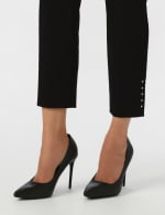 Solid Superstretch Tummy Panel Pull On Ankle Pants With Rivet Trim Bottom          - Petite - 2
