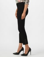 Roz & Ali Solid Superstretch Tummy Panel Pull On Ankle Pants With Rivet Trim Bottom          - Petite - Black - Front