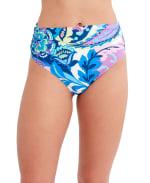 Tahari Paris Floral Hi Waist Swimsuit Bottom - Blue - Front