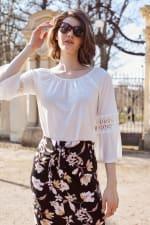 Side Tie Midi Skirt - Black Sage Floral - Back