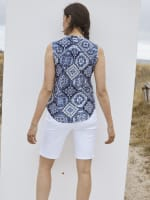 Roz & Ali Sleeveless Patchwork Popover - Navy - Back