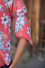 "Westport Floral ""On and Off The Shoulder"" Top - Coral - Detail"