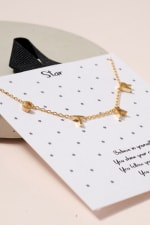 S-T-A-R Letter Charm Necklace - Gold - Back