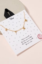 S-T-A-R Letter Charm Necklace - Gold - Front