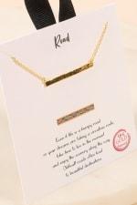 Sideways Bar Necklace - Gold - Back