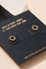 Open Circle Pave Gold Dip Stud Earrings - 2