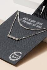 Pave Bar Layered Short Necklace - Rhodium - Back