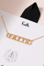 FAITH Bar Pendant CZ Necklace - 2