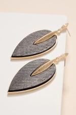 Wooden Leaf Shaped Dangling Earrings - 8