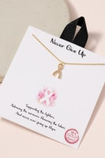 Ribbon Charm CZ Necklace - Gold - Front