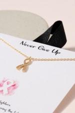 Ribbon Charm CZ Necklace - Gold - Back
