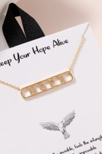 HOPE Bar Pendant CZ Necklace - Gold - Front