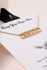 HOPE Bar Pendant CZ Necklace - Gold - Back