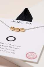 Linked Rings Charms Necklace - Gold - Back