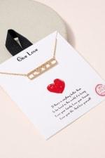 LOVE Bar Pendant CZ Necklace - Gold - Front