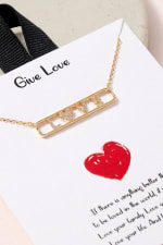 LOVE Bar Pendant CZ Necklace - Gold - Back