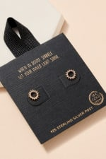 Open Circle Pave Gold Dip Stud Earrings - 1