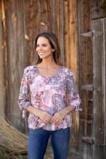 Floral And Paisley Tie Sleeve Bubble Hem Blouse - 4