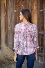 Floral And Paisley Tie Sleeve Bubble Hem Blouse - 2