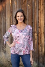 Floral And Paisley Tie Sleeve Bubble Hem Blouse - 1
