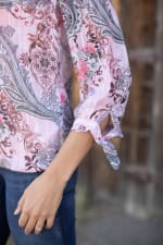 Floral And Paisley Tie Sleeve Bubble Hem Blouse - 6