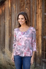 Floral And Paisley Tie Sleeve Bubble Hem Blouse - 3