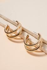 Layered Metal Hoop Earrings - Gold - Front