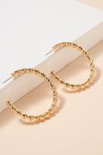 Twisted Metal Open Hoop Earrings - Gold - Front