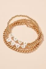 Inspirational Beaded Chain Linked Bracelet Set - Gold - Back