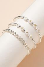 Inspirational Beaded Chain Linked Bracelet Set - 6