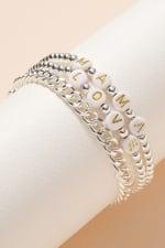 Inspirational Beaded Chain Linked Bracelet Set - 4