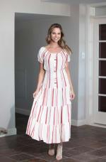 Vienna Stripe Maxi Peasant Dress - 1