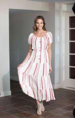 Vienna Stripe Maxi Peasant Dress - 3
