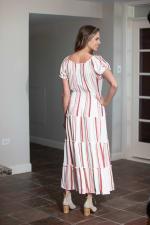 Vienna Stripe Maxi Peasant Dress - 2