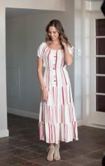 Vienna Stripe Maxi Peasant Dress - 5