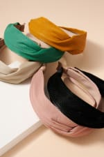 Crock Embossed Leather Twisted Head Band - 3