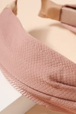 Crock Embossed Leather Twisted Head Band - Pink - Back