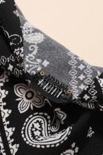 Paisley Print Bandana Hair Scarf - Black - Detail