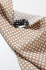 Polka Dot Print Bandana Hair Scarf - Beige - Back