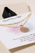 Disc Charm CZ Layered Necklace - 2