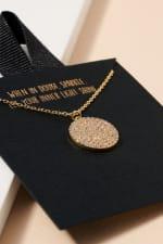 Round Disc Charm Short Necklace - 2