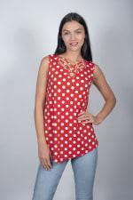 Dot Asymmetrical Knit Tunic - 1