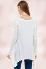 Everyday Favorite Ribbed Knit Top - White  - Back