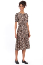 Braley Shirred Jewel Neck Pleated Ruched Sleeve Elastic Waist Midi Dress - 6