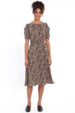 Braley Shirred Jewel Neck Pleated Ruched Sleeve Elastic Waist Midi Dress - 4