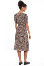 Braley Shirred Jewel Neck Pleated Ruched Sleeve Elastic Waist Midi Dress - 5