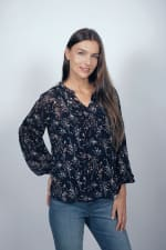 Westport Ditsy Ruffle Neck Blouse - Navy - Front
