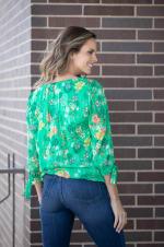 Roz & Ali Bright Floral Bouquet Bubble Hem Blouse - Misses - Green - Back